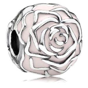 Pandora retired charm Rose Garden pink enamel